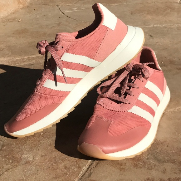 886eff16f70e79 ADIDAS FLASHBACK RAW PINK  AMP  WHITE SHOES